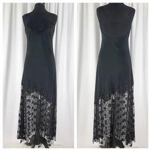 Jovani Sleeveless Mesh Lace Beaded Gown Black